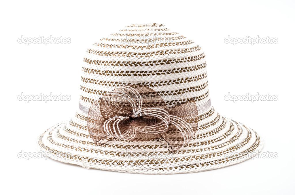 834e2416f fundo branco de chapéu isolado de praia — Stock Photo © mrsiraphol ...
