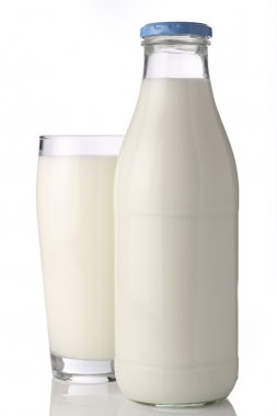 Milk bottle with glass