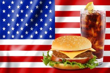 Hamburger and cola with usa flag