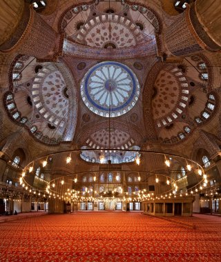 Interior of the Sultanahmet Mosque in Istanbul