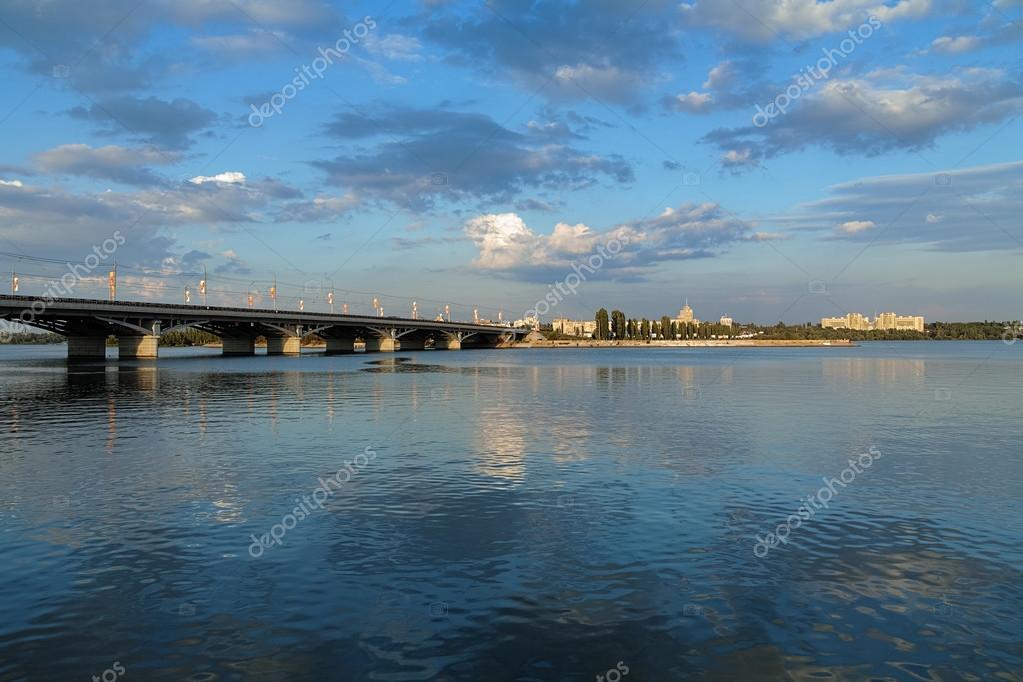 Voronezh water storage basin and Chernavskiy bridge, Russia