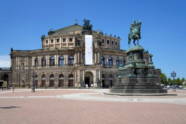 Dresden Opera House and monument to King John of Saxony, Germany
