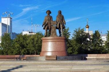 Monument to the founders of Ekaterinburg, Russia