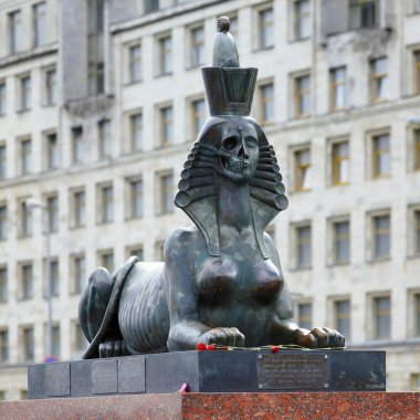 The Sphinx with half skull face in Sant Petersburg, Russia