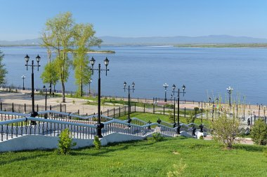 Amur River and the stairs to embankment in Khabarovsk, Russia