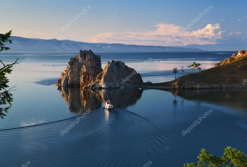 Cape Burhan and Shaman Rock on Olkhon Island at Baikal Lake