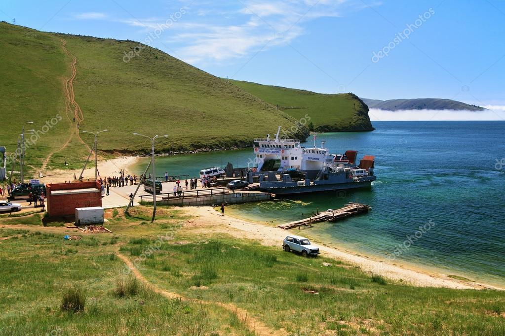 Ferry at Olkhon island on Baikal Lake