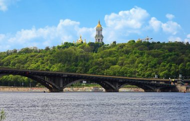 View of the Kiev-Pechersk Lavra and metro bridge in Kiev