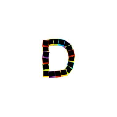 Alphabet D with colorful Polaroids