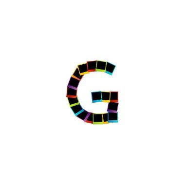 Alphabet G with colorful Polaroids