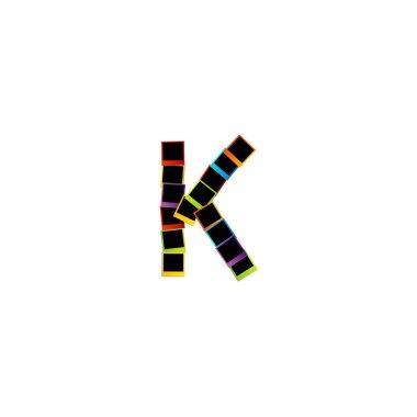 Alphabet K with colorful Polaroids