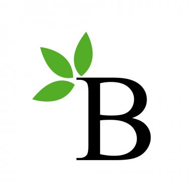 Alphabet B with green leaves