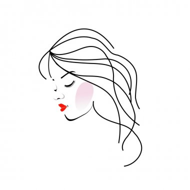 Illustration of a girl with wavy hair- Beauty logo