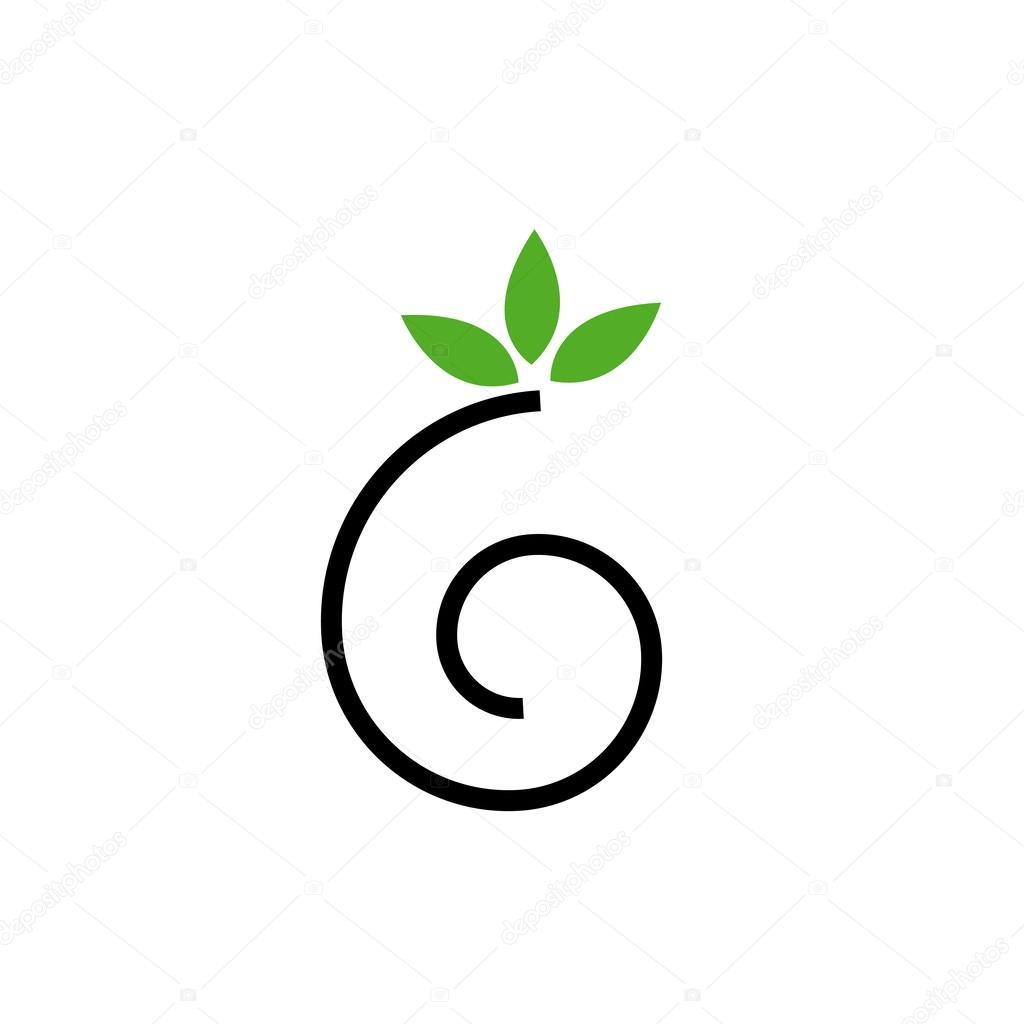 Abstract drawing of a cute snail with green leaves- logo concept