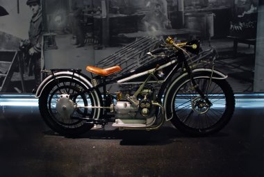 Old motorcycle BMW RS 255 in BMW Museum in Munich, Germany