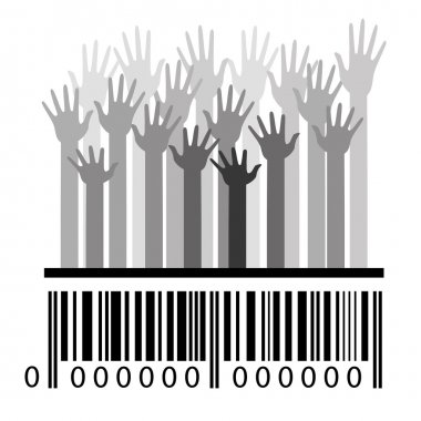 Barcode and hands