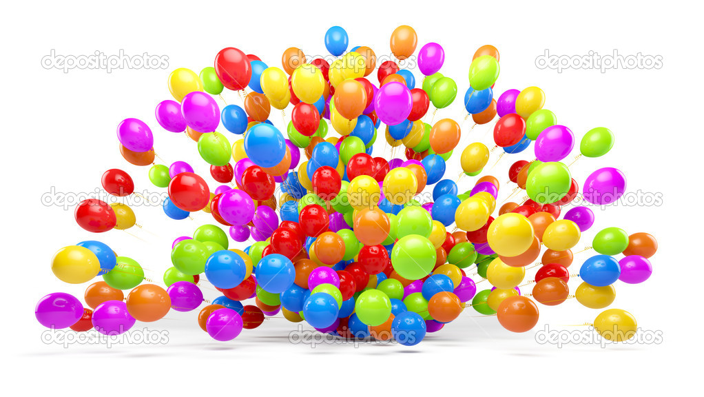 Lots Of Colorful Balloons Forming A Explosion Stock Photo