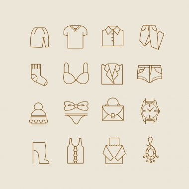 Collection of woman clothes icons vector illustration stock vector