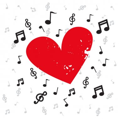 Decoration of musical notes with red heart grunge and background music