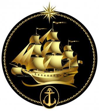 Gold sailing ship