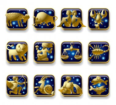 Vector set of dark blue icons with gold zodiacal signs with figure, symbols and stars against a white background stock vector