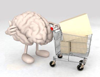 Human brain with a shopping cart