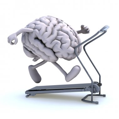 Human brain with arms and legs on a running machine, 3d illustration stock vector