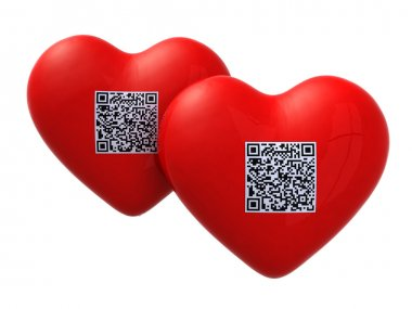 Red hearts with qr code