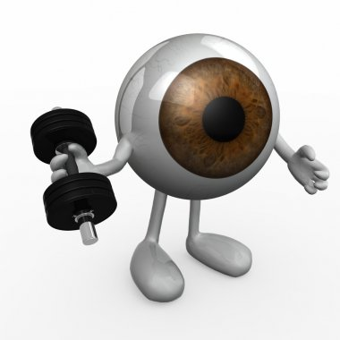 Eyeball with arms and legs does weight training