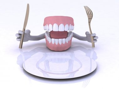 Dentures with hands and cutlery