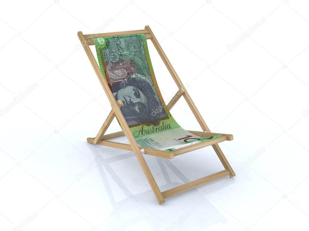 Sedia A Sdraio In Legno : Sedia a sdraio di legno con note australiani u2014 foto stock