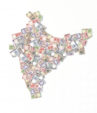 india map with rupee banknotes
