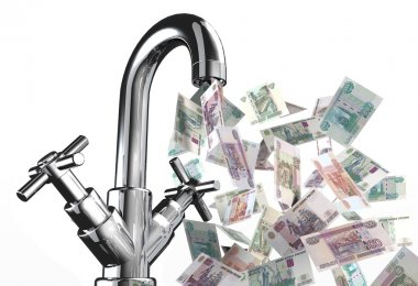 tap water with rubles banknotes