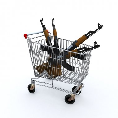 shopping cart loaded with the kalashnicov for purchase