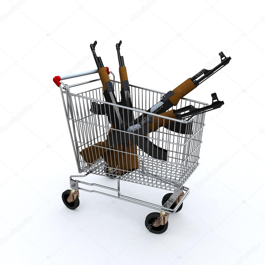 The shopping cart loaded with the kalashnicov for purchase, weapons market concepts stock vector