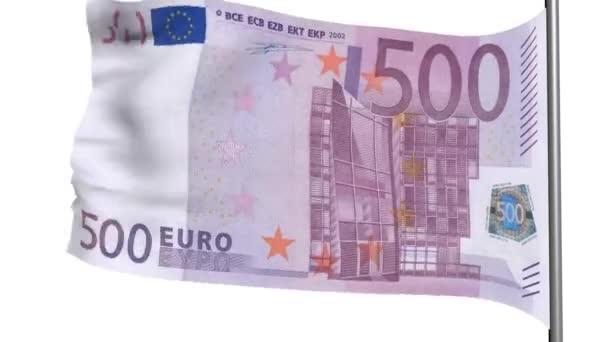 500 euro vlajka 3d animace na bílém pozadí白い背景の上の 500 ユーロ フラグ 3 d アニメーション