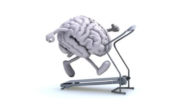 Human brain on a running machine, 3d animation