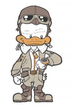 This Pilot Duck funny character. stock vector