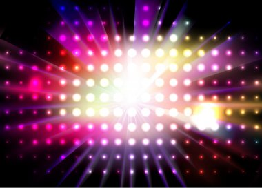 Vector party background with led display background and light - rays. stock vector