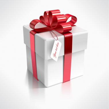 Realistic vector illustration of a 3d gift box - design element for various holiday designs: Christmas, Valentine's day, New Year Celebrations Birthdays . clip art vector