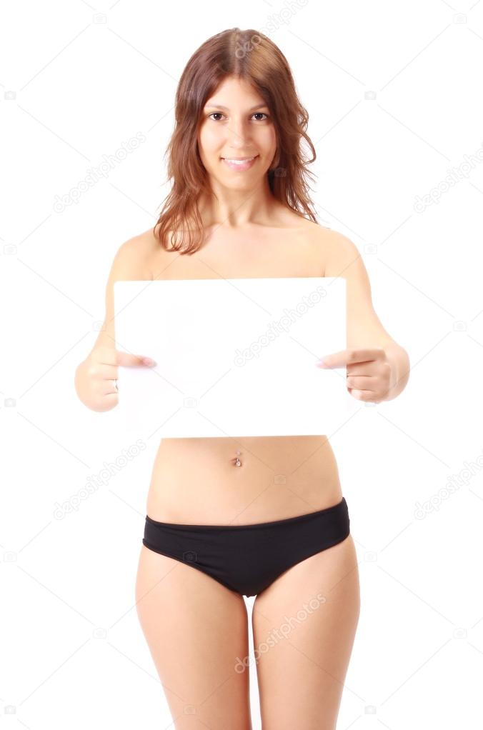 Sexy girl with panties showing a poster