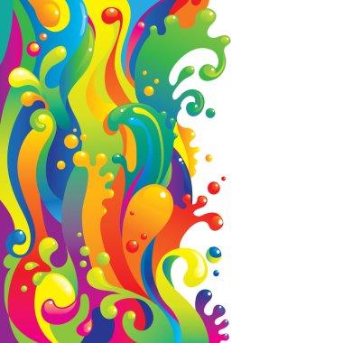 Colorful flow of liquid paints clip art vector