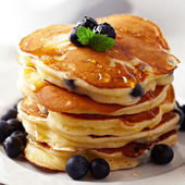 Fotografie Stack of pancakes with fresh blueberry