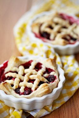 Homemade lattice berry pies