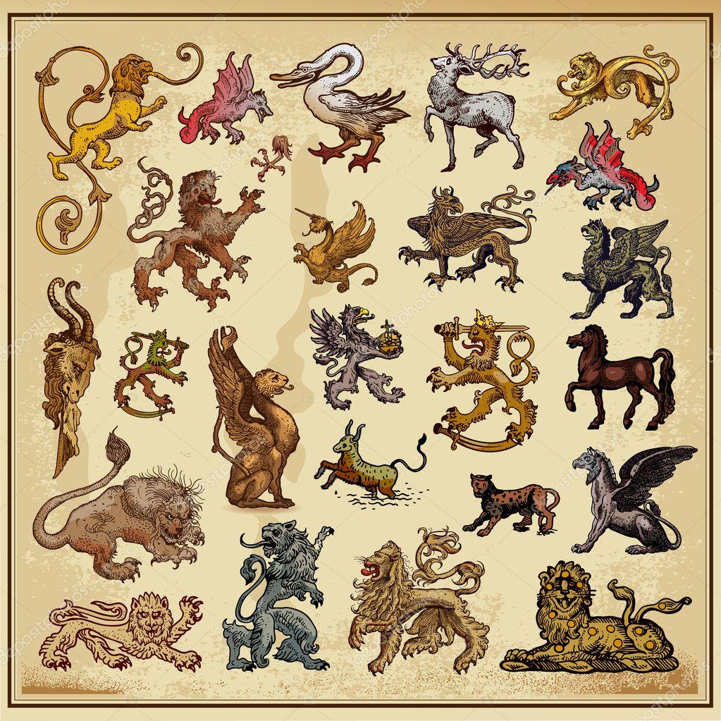 Heraldic elements beasts