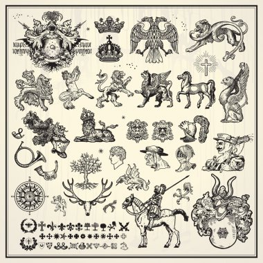 Collection of heraldic elements on light background stock vector