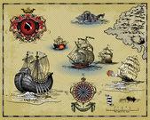Photo Antique map elements