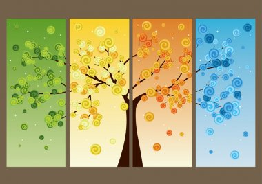 Four seasons - spring, summer, autumn, winter. Vector  tree beautiful for your design clip art vector