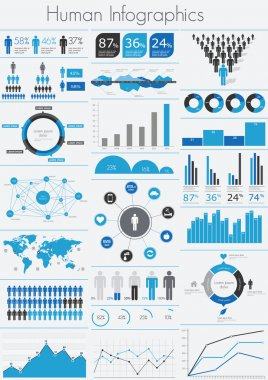 Human infographic vector illustration. World Map and Information