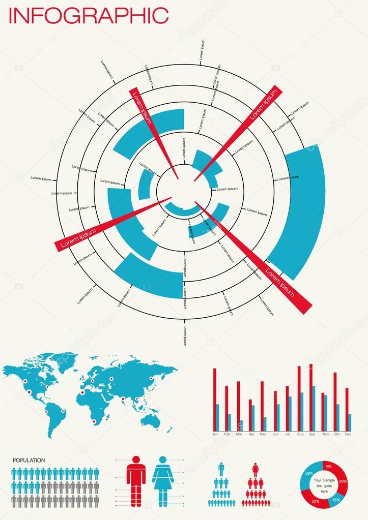 Satz von Infografiken. Weltkarte — Stockvektor © AntunHirsman #41676689